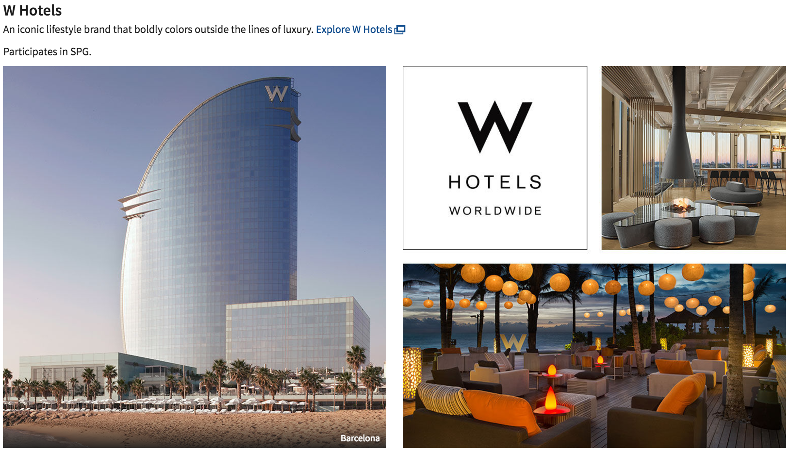W Hotels are a Marriott luxury brand.